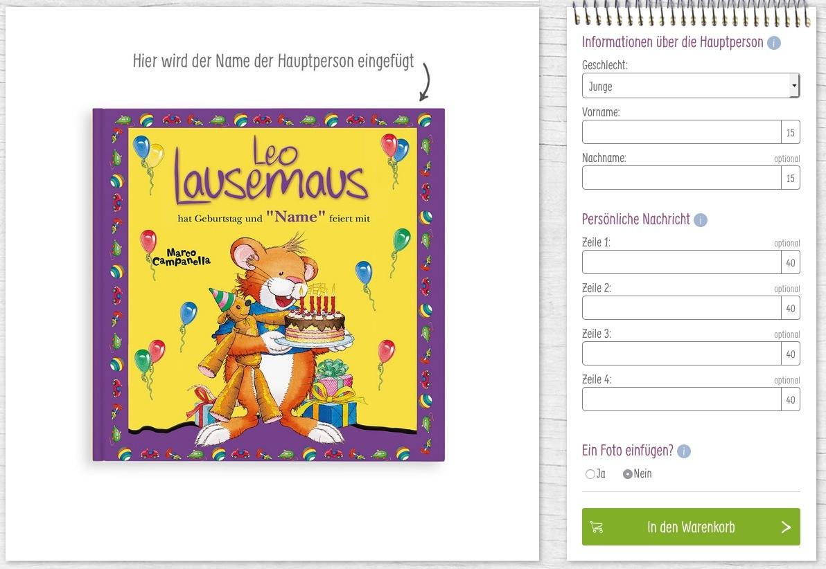 YourSurprise Kinderbücher Konfigurator