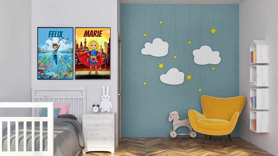 personalisierte poster f r kinder kleine superhelden. Black Bedroom Furniture Sets. Home Design Ideas