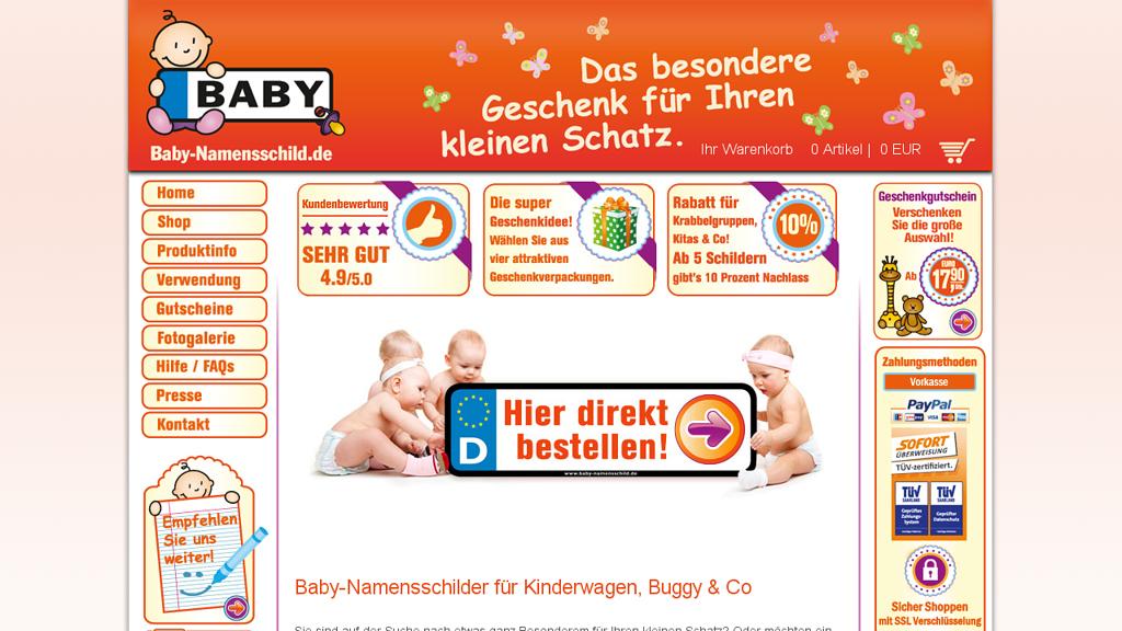 Baby-Namensschild.de Online-Shop