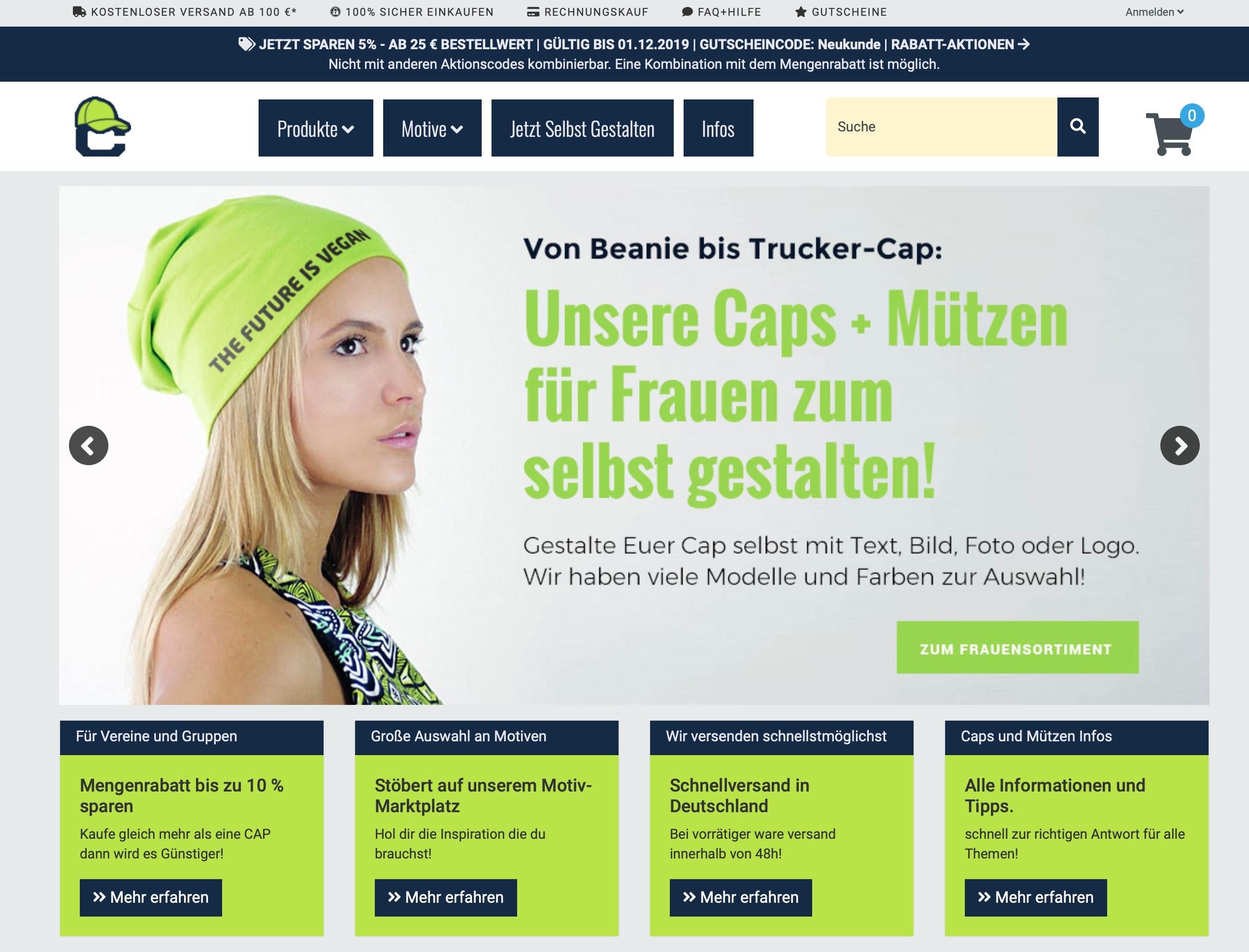 cap-bedrucken.de Online-Shop