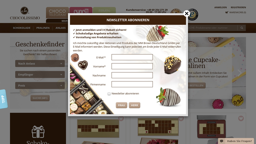 chocolissimo Online-Shop