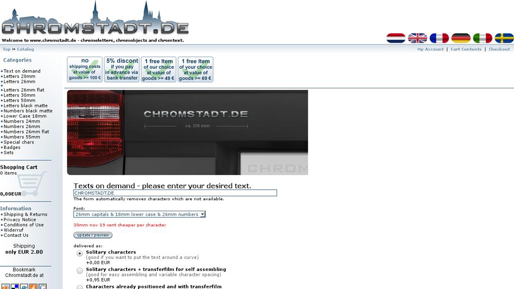 Chromstadt Online-Shop