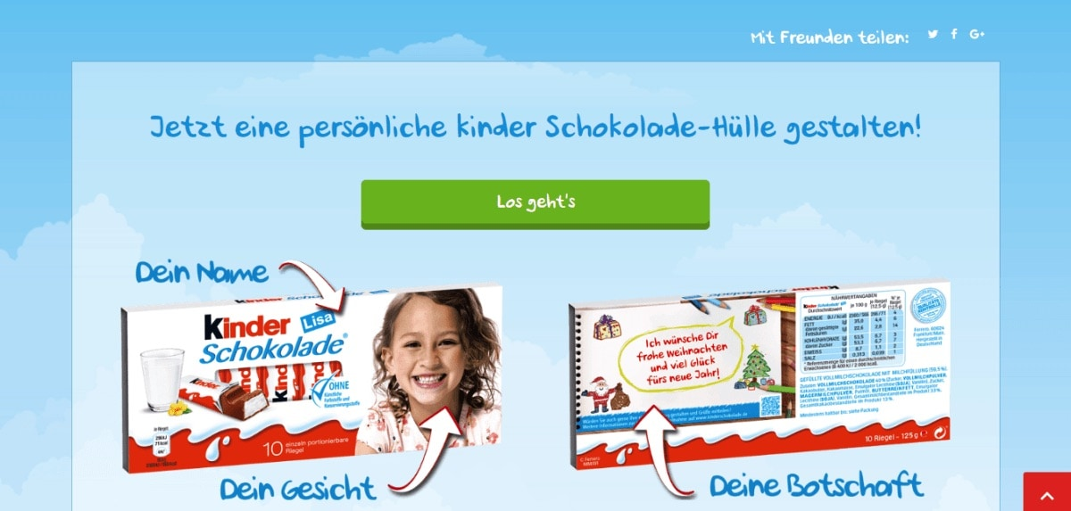 Kinder Schokolade Online-Shop