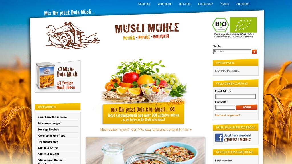 Müsli Mühle Online-Shop