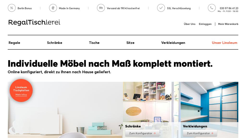 Regaltischlerei Online-Shop