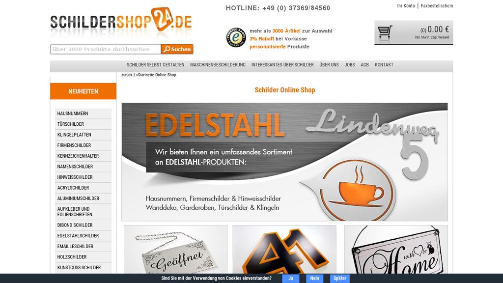 Schildershop24 Online-Shop